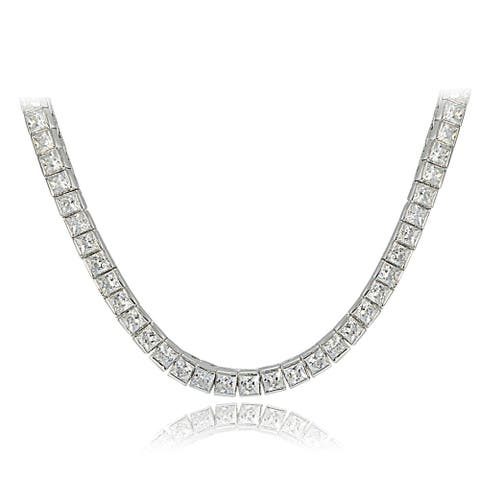Icz Stonez Sterling Silver Princess-cut Cubic Zirconia Tennis Necklace - White