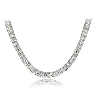 Icz Stonez Sterling Silver Princess-cut Cubic Zirconia Tennis Necklace