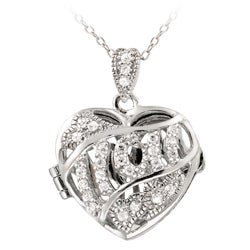 Icz Stonez Sterling Silver Cubic Zirconia Mom Heart Locket Necklace