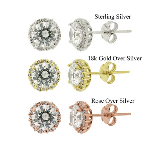 Icz Stonez Sterling Silver Round-cut Cubic Zirconia Fancy Stud Earrings