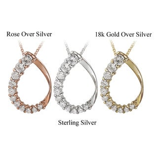 Link to Icz Stonez Sterling Silver Cubic Zirconia Teardrop Necklace Similar Items in Necklaces