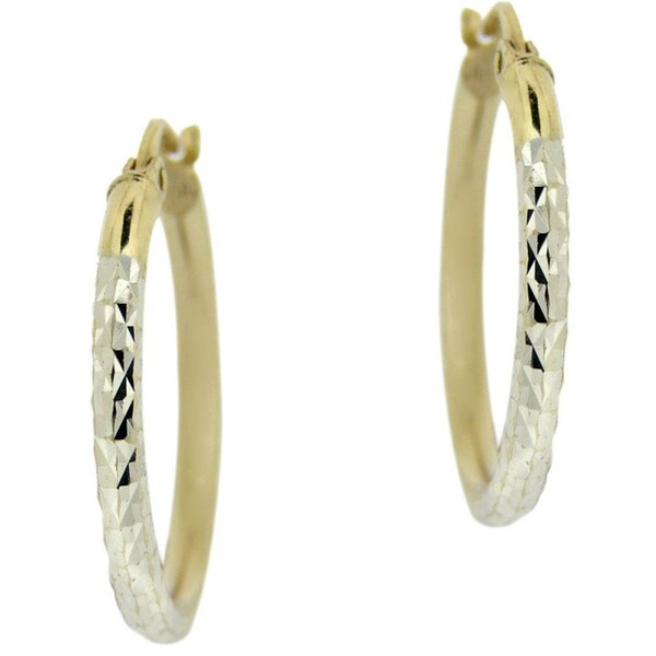 Mondevio 18k Yellow Gold and Sterling Silver 25-mm Diamond-cut Hoop Earrings