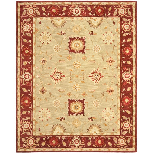 Safavieh Handmade Anatolia Oriental Farahan Sage Green/ Burgundy Hand-spun Wool Rug - 8' x 10'