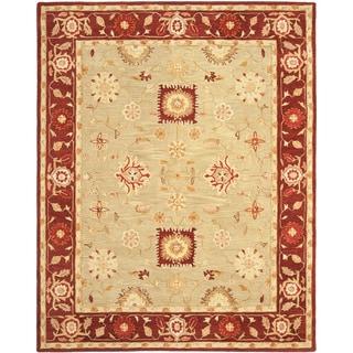 Safavieh Handmade Anatolia Oriental Farahan Sage Green/ Burgundy Hand-spun Wool Rug (9' x 12')