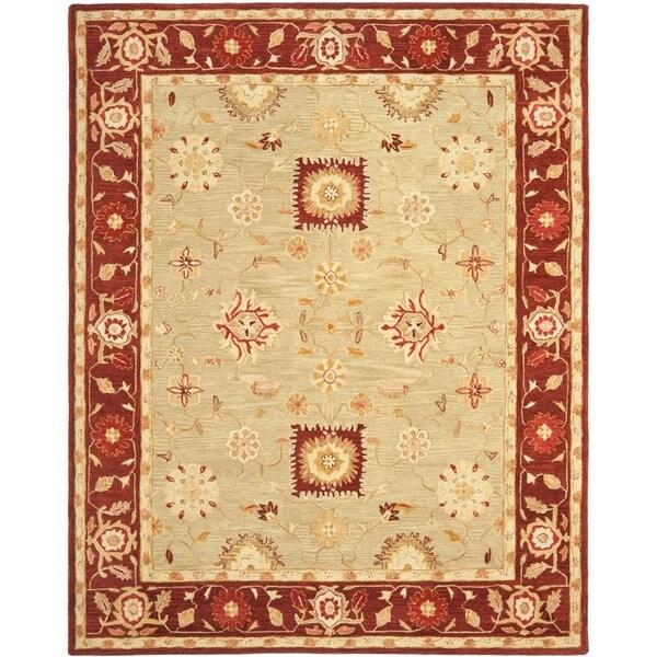 Safavieh Handmade Anatolia Oriental Farahan Sage Green/ Burgundy Hand-spun Wool Rug - 9' x 12'
