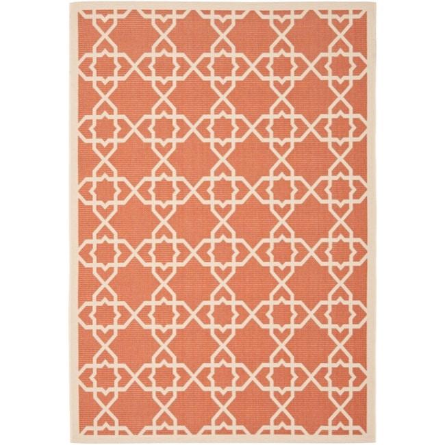 Safavieh Courtyard Geometric Trellis Terracotta/ Beige Indoor/ Outdoor Rug - 5'3 x 7'7