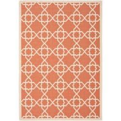 Safavieh Courtyard Geometric Trellis Terracotta/ Beige Indoor/ Outdoor Rug - 5'3 x 7'7 - Thumbnail 0