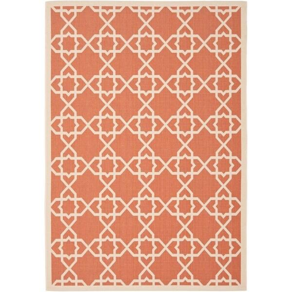 Safavieh Courtyard Geometric Trellis Terracotta/ Beige Indoor/ Outdoor Rug - 8' X 11'
