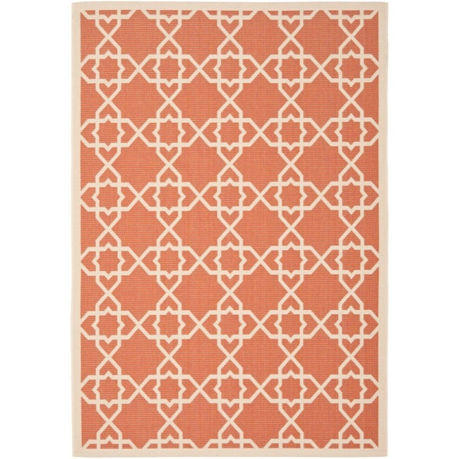 Safavieh Courtyard Geometric Trellis Terracotta/ Beige Indoor/ Outdoor Rug (9' x 12')