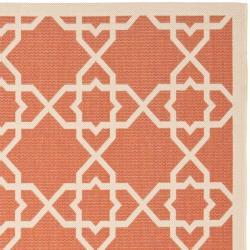 Safavieh Courtyard Geometric Trellis Terracotta/ Beige Indoor/ Outdoor Rug (9' x 12') - Thumbnail 1