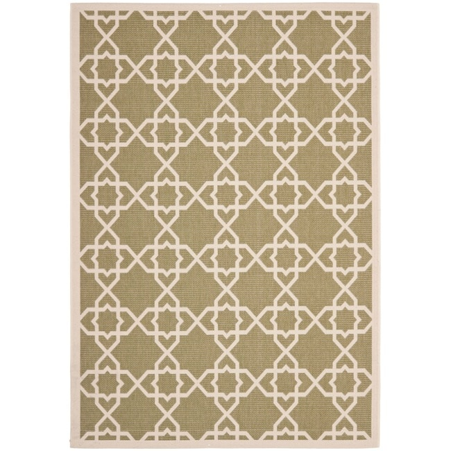 "Safavieh Courtyard Geometric Trellis Green/ Beige Indoor/ Outdoor Rug (8' x 11'2"") - Thumbnail 0"