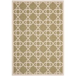 "Safavieh Courtyard Geometric Trellis Green/ Beige Indoor/ Outdoor Rug (8' x 11'2"")"