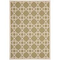 Safavieh Courtyard Geometric Trellis Green/ Beige Indoor/ Outdoor Rug - 8' x 11'2'