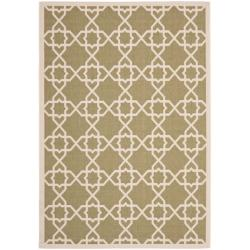 Safavieh Courtyard Geometric Trellis Green/ Beige Indoor/ Outdoor Rug (9' x 12')