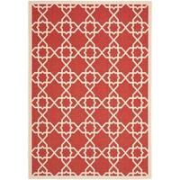 """Safavieh Courtyard Geometric Trellis Red/ Beige Indoor/ Outdoor Rug - 4' x 5'7"""""""
