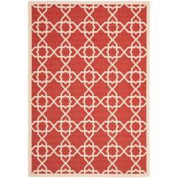 Safavieh Courtyard Geometric Trellis Red/ Beige Indoor/ Outdoor Rug (5'3 x 7'7)
