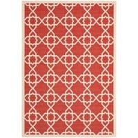 Safavieh Courtyard Geometric Trellis Red/ Beige Indoor/ Outdoor Rug - 5'3 x 7'7