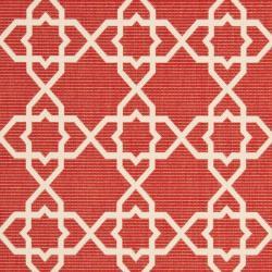 Safavieh Courtyard Geometric Trellis Red/ Beige Indoor/ Outdoor Rug (8' x 11'2)