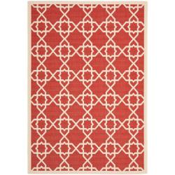 Safavieh Courtyard Geometric Trellis Red/ Beige Indoor/ Outdoor Rug - 8' x 11'2 - Thumbnail 0