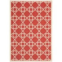 Safavieh Courtyard Geometric Trellis Red/ Beige Indoor/ Outdoor Rug - 8' x 11'2