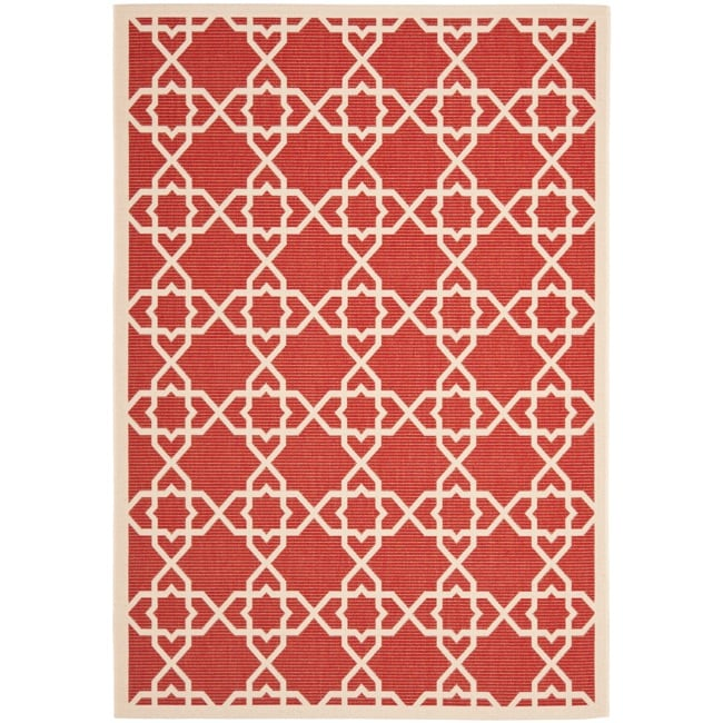 Safavieh Courtyard Geometric Trellis Red/ Beige Indoor/ Outdoor Rug (9' x 12')