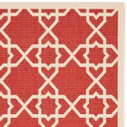 Safavieh Courtyard Geometric Trellis Red/ Beige Indoor/ Outdoor Rug (9' x 12') - Thumbnail 1