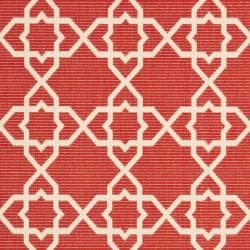 Safavieh Courtyard Geometric Trellis Red/ Beige Indoor/ Outdoor Rug (9' x 12') - Thumbnail 2
