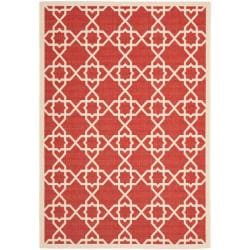 Safavieh Courtyard Geometric Trellis Red/ Beige Indoor/ Outdoor Rug - 9' x 12' - Thumbnail 0