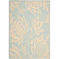 Safavieh Courtyard Bloom Aqua/ Cream Indoor/ Outdoor Rug - 5'3 x 7'7