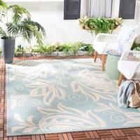 """Safavieh Courtyard Bloom Aqua/ Cream Indoor/ Outdoor Rug - 6'7"""" x 9'6"""""""