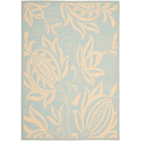 Safavieh Courtyard Bloom Aqua/ Cream Indoor/ Outdoor Rug - 8' x 11'2'