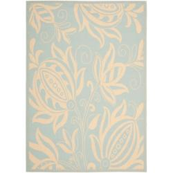 "Safavieh Courtyard Bloom Aqua/ Cream Indoor/ Outdoor Rug (8' x 11'2"")"