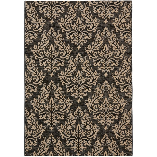 Safavieh Poolside Black/ Cream Indoor Outdoor Rug (8' x 11'2)