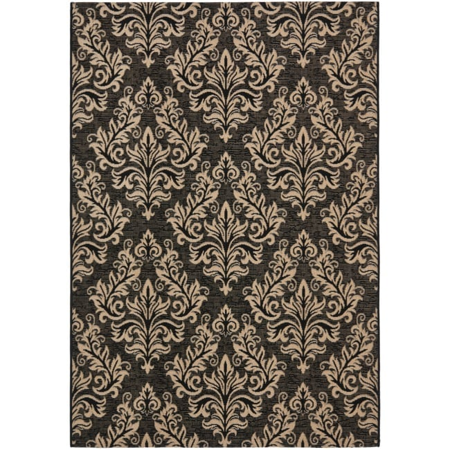 Safavieh Poolside Black/ Cream Indoor Outdoor Rug (9' x 12') - Thumbnail 0
