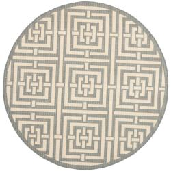 Safavieh Poolside Grey/ Cream Indoor Outdoor Rug (5'3 Round)