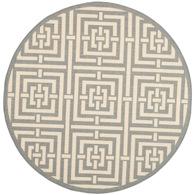 Safavieh Poolside Grey/ Cream Indoor Outdoor Rug (6'7 Round)
