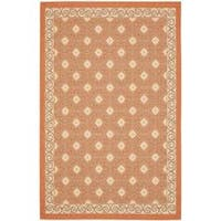Safavieh Poolside Terracotta/Cream Indoor-Outdoor Floral Rug - 5'3 x 7'7