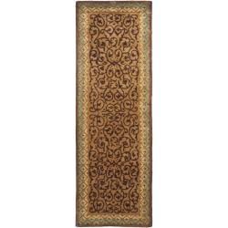 Safavieh Handmade French Aubusson Brown/ Blue Premium Wool Rug (2'6 x 8')