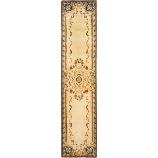 Safavieh Handmade French Aubusson Beige/ Brown Premium Wool Rug - 2'6 x 10'