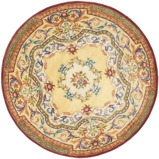 Safavieh Handmade French Aubusson Loubron Gold Premium Wool Rug (6' Round)