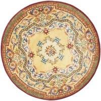 Safavieh Handmade French Aubusson Loubron Gold Premium Wool Rug (6' Round)