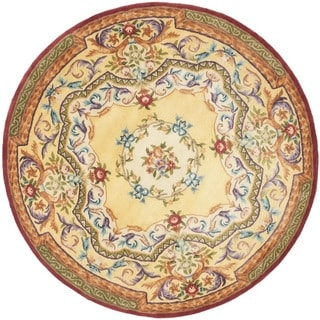 Safavieh Handmade French Aubusson Loubron Gold Premium Wool Rug (8' Round)