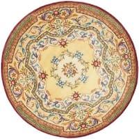 Safavieh Handmade French Aubusson Loubron Gold Premium Wool Rug - 8' x 8' Round