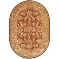 "Safavieh Handmade Golden Jaipur Rust/ Green Wool Rug - 4'6"" x 6'6"" oval"