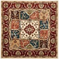 Safavieh Handmade Heritage Timeless Traditional Multi/ Red Wool Rug - 6' x 6' Square