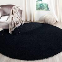 Safavieh Handmade Monterey Shag Black Polyester Rug - 7' x 7' Round