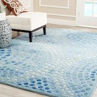 Safavieh Handmade Soho Abstract Wave Light Blue Wool Rug - 6' x 6' Square