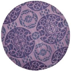 Safavieh Handmade Chatham Treasures Purple New Zealand Wool Rug (7' Round)