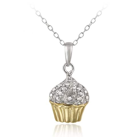 DB Designs 18k Gold over Sterling Silver Diamond Accent Cupcake Necklace