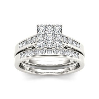 De Couer 10k Gold 3/4ct TDW Diamond Bridal Ring Set